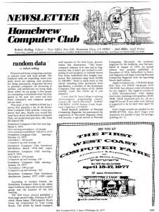 Homebrew Computer Club Newsletter