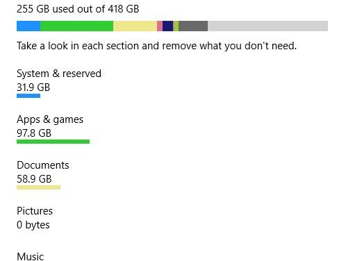 Windows 10 Storage Use