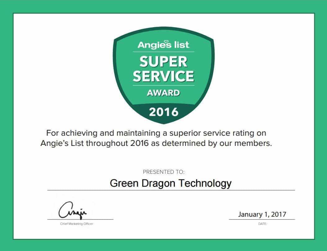 We Won the Angie's List 2016 Super Service Award!